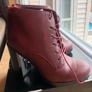Torrid Burgandy Heeled Boots 8.5W. Brand New